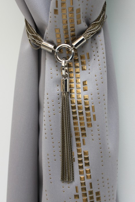 Silver and Bronze Chain Custom Tie Back